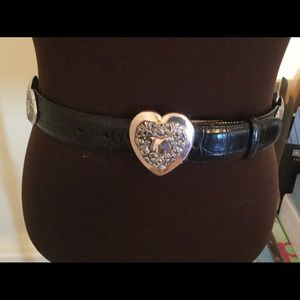 Brighton Black Leather Belt with Silver details